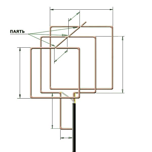 Схема антенны тройного квадрата