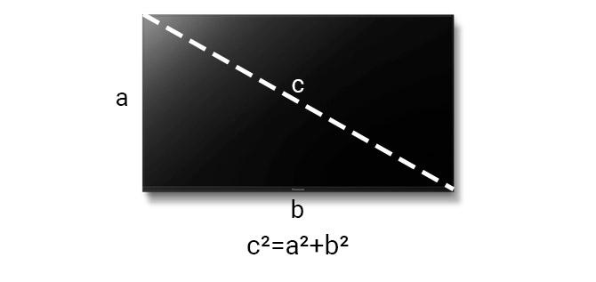 Вычисление диагонали телевизора по теореме пифагора