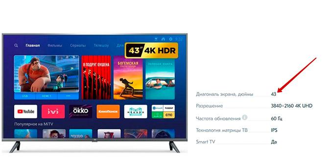 Информация о диагонали ТВ в интернет магазине
